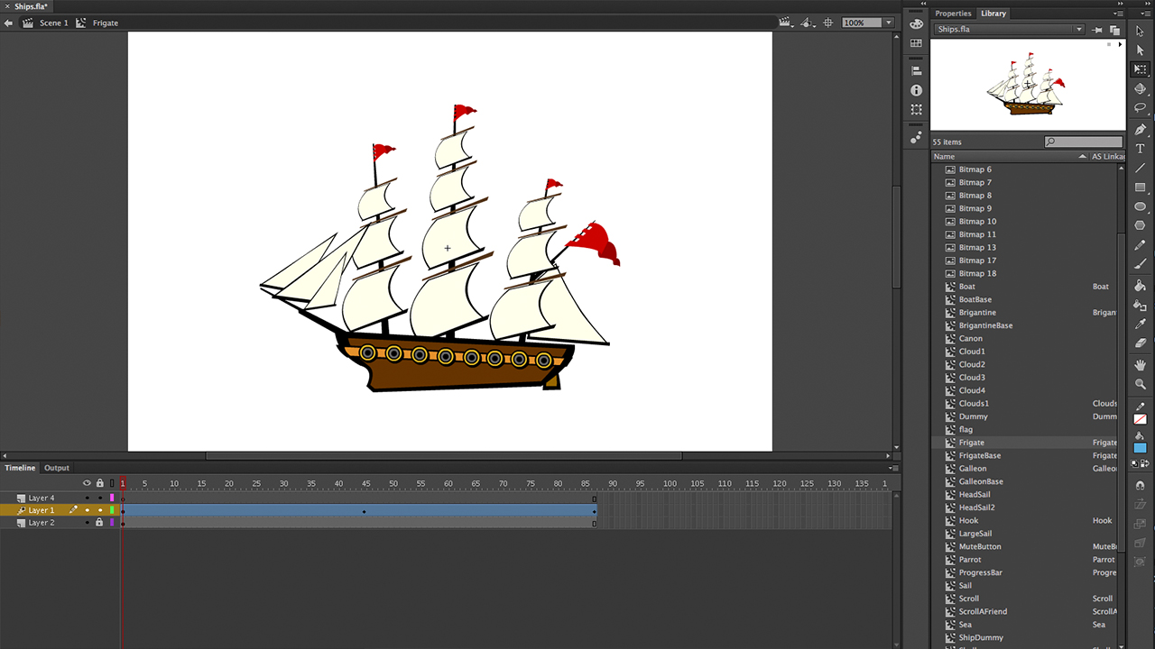 Screenshot of the Frigate animation process using Adobe Flash