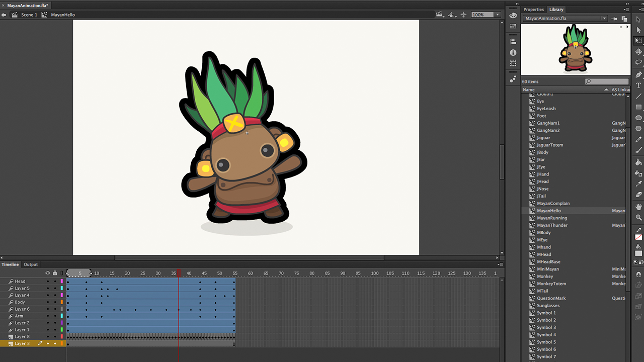 Mayan salutation animation progress screenshot using Adobe Flash