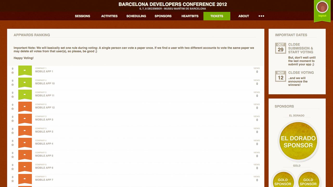 BcnDevCon 2012 App Ranking