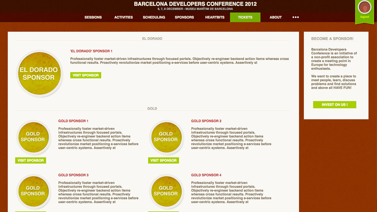BcnDevCon 2012 sponsors page