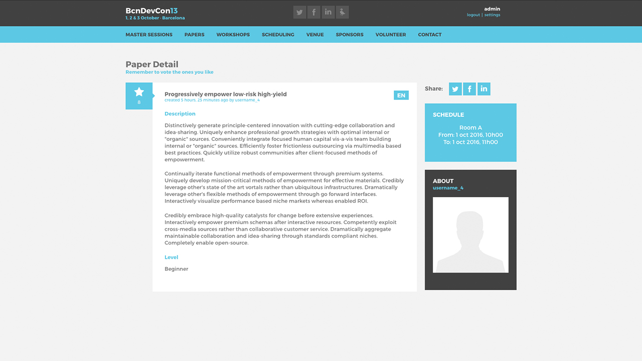 Barcelona Developers Conference 2013 website screenshot with Session detail