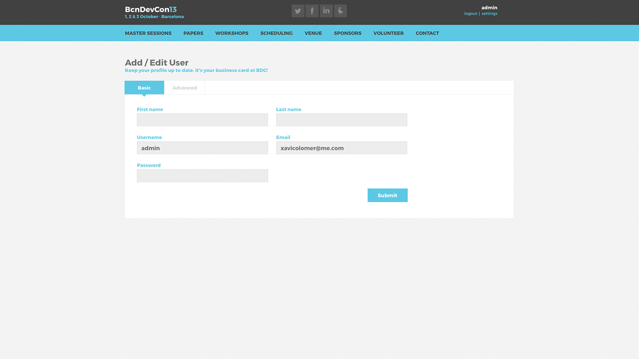 Barcelona Developers Conference 2013 website screenshot with User profile page