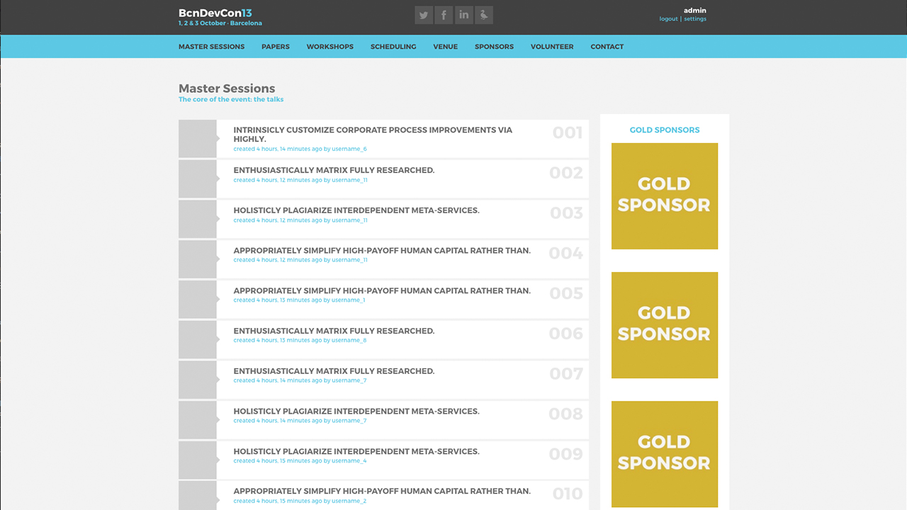 Barcelona Developers Conference 2013 website screenshot with Master Sessions
