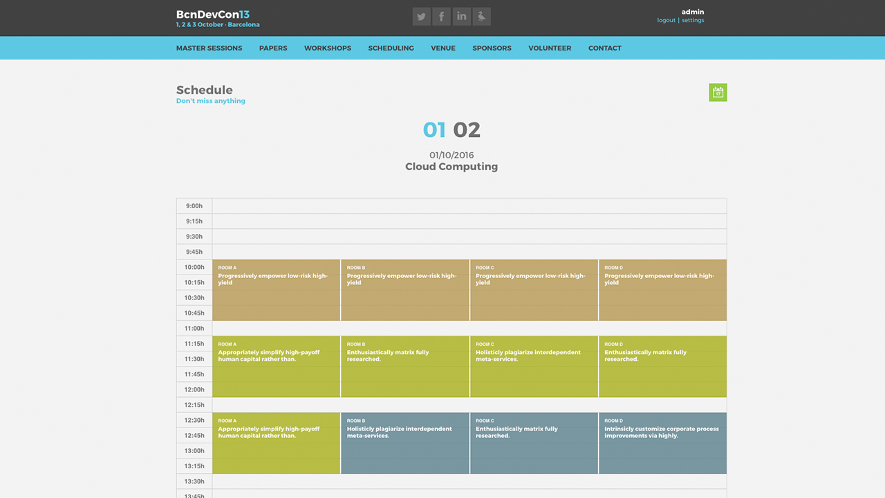 Barcelona Developers Conference 2013 website screenshot with the Scheduling