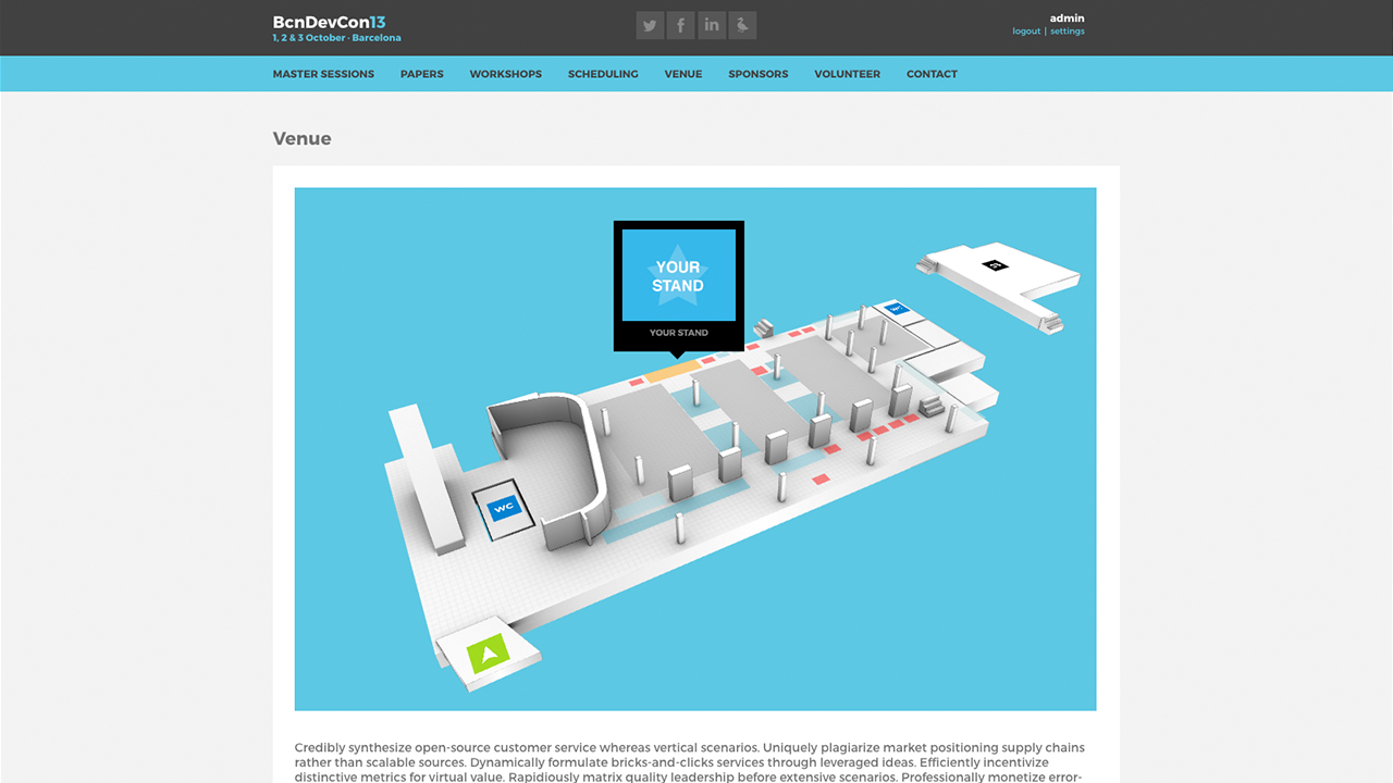 Barcelona Developers Conference 2013 website screenshot with the Virtual Venue