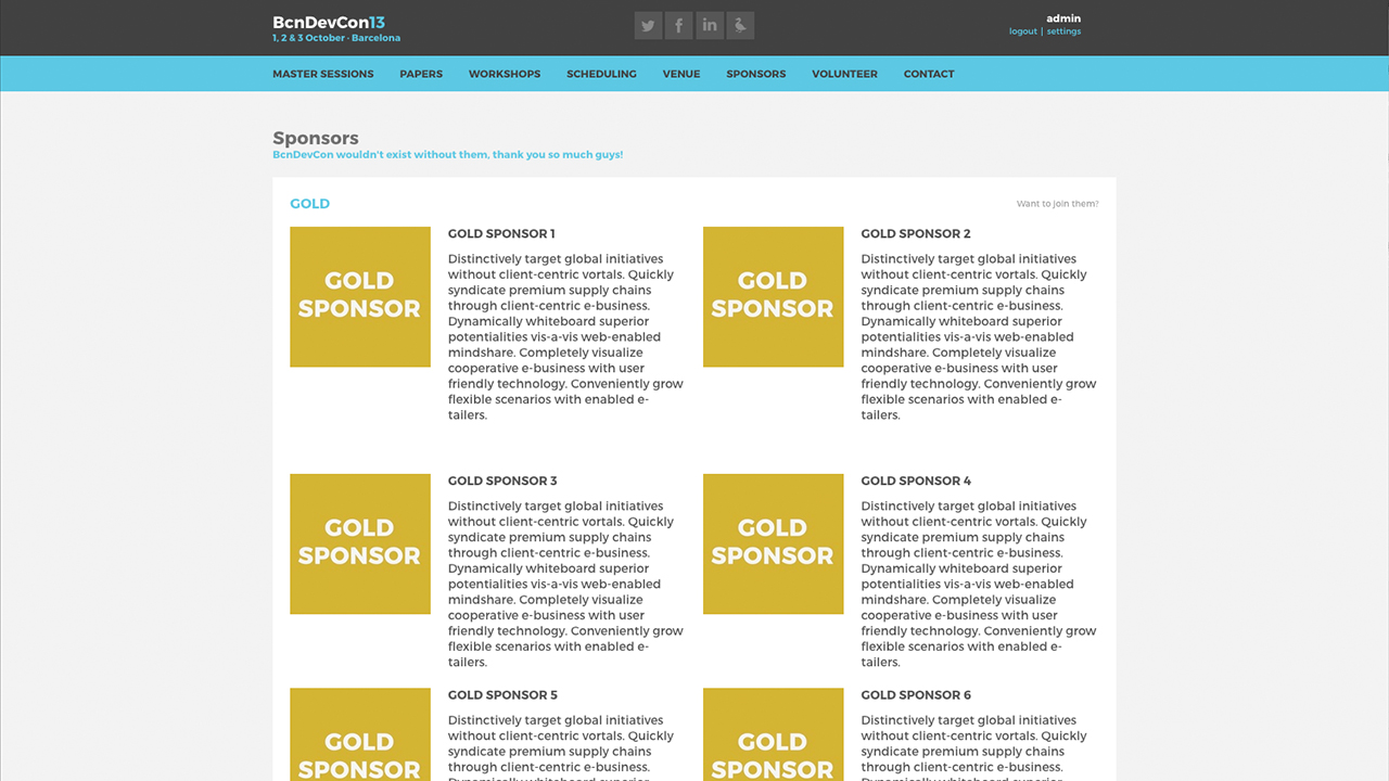 Barcelona Developers Conference 2013 website screenshot with the Sponsors section