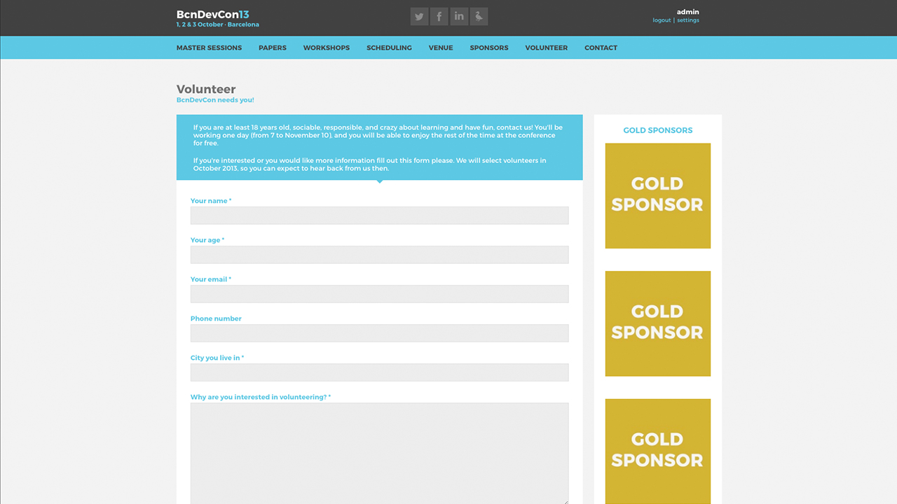 Barcelona Developers Conference 2013 website screenshot with the Volunteers page