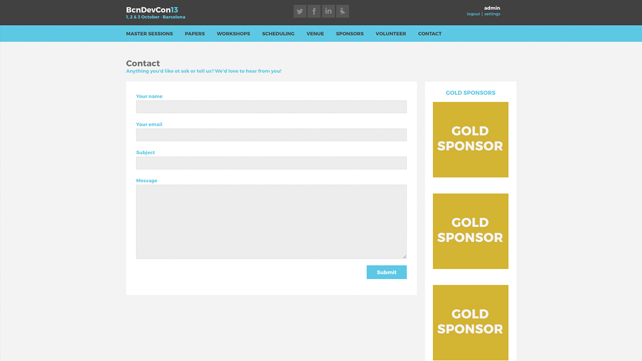 Barcelona Developers Conference 2013 website screenshot with Contact page