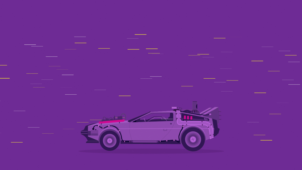 Screenshot of the Delorean for the Barcelona BITS teaser themed as Back to the Future