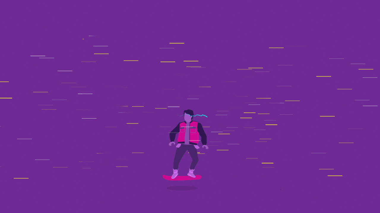 Screenshot of Marty McFly for the Barcelona BITS teaser themed as Back to the Future