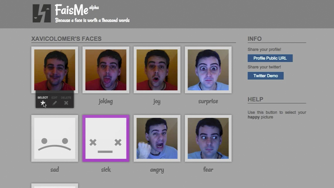 Fais.me API editor interface showing the eight basic moods filled with some pictures